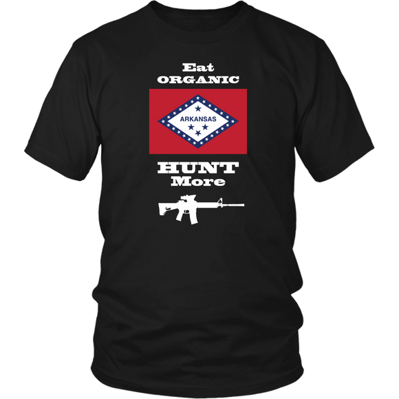Eat Organic - Hunt More | Arkansas State Flag T-Shirt with AR15