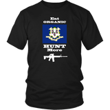 Eat Organic - Hunt More | Connecticut State Flag T-Shirt with AR15