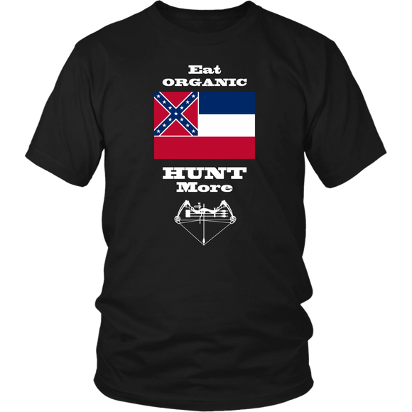 Eat Organic - Hunt More | Mississippi State Flag T-Shirt with Bow