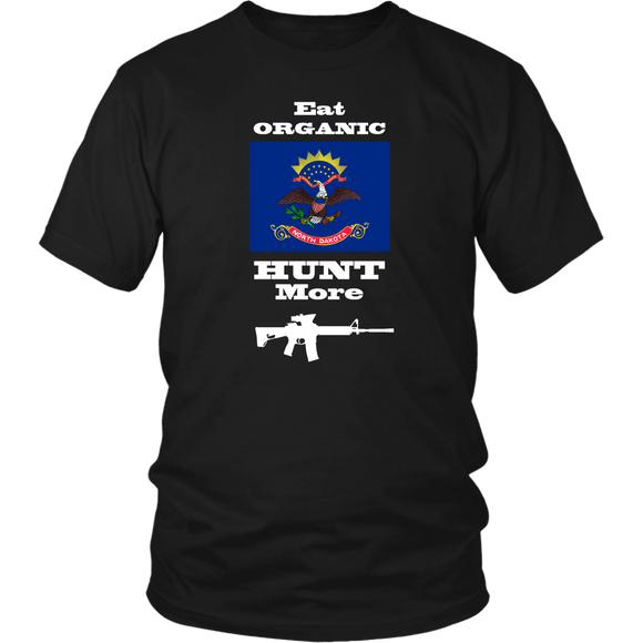 Eat Organic - Hunt More | North Dakota State Flag T-Shirt with AR15