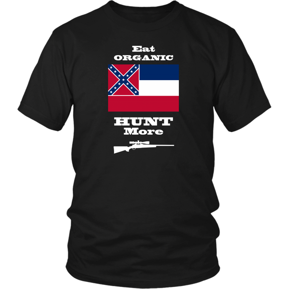 Eat Organic - Hunt More | Mississippi State Flag T-Shirt with Bolt Action Rifle