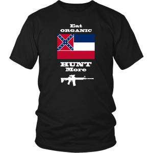 Eat Organic - Hunt More | Mississippi State Flag T-Shirt with AR15