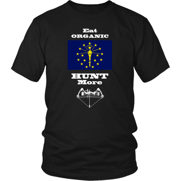 Eat Organic - Hunt More | Indiana State Flag T-Shirt with Bow