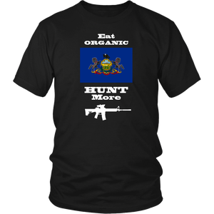 Eat Organic - Hunt More | Pennsylvania State Flag T-Shirt with AR15