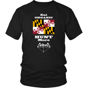 Eat Organic - Hunt More | Maryland State Flag T-Shirt with Bow