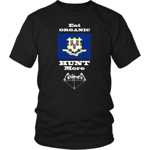 Eat Organic - Hunt More | Connecticut State Flag T-Shirt with Bow
