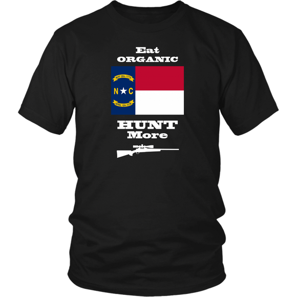 Eat Organic - Hunt More | North Carolina State Flag T-Shirt with Bolt Action Rifle
