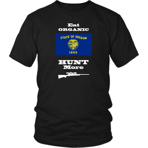 Eat Organic - Hunt More | Oregon State Flag T-Shirt with Bolt Action Rifle