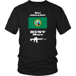 Eat Organic - Hunt More | Washington State Flag T-Shirt with AR15