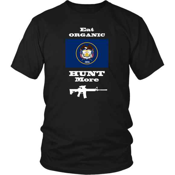 Eat Organic - Hunt More | Utah State Flag T-Shirt with AR15