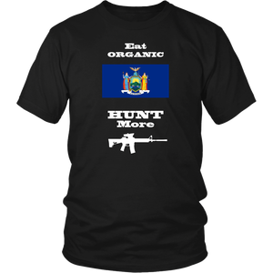 Eat Organic - Hunt More | New York State Flag T-Shirt with AR15