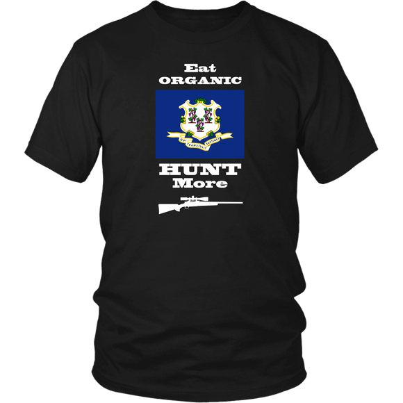 Eat Organic - Hunt More | Connecticut State Flag T-Shirt with Bolt Action Rifle