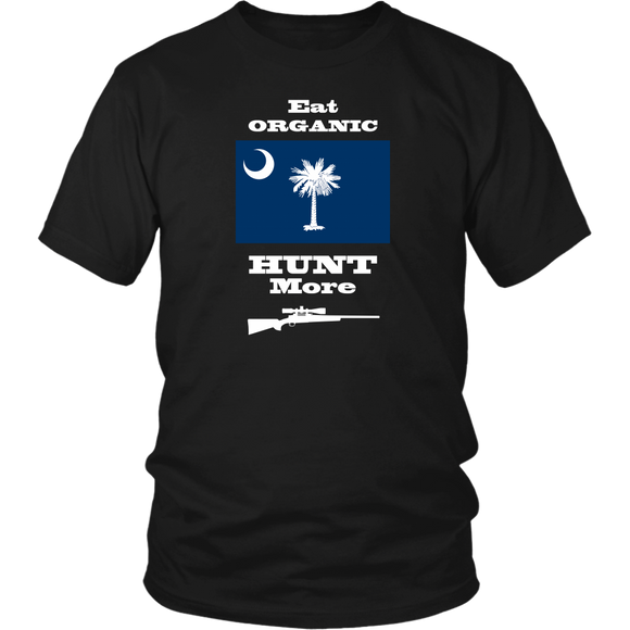 Eat Organic - Hunt More | South Carolina State Flag T-Shirt with Bolt Action Rifle
