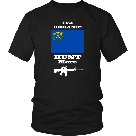 Eat Organic - Hunt More | Nevada State Flag T-Shirt with AR15
