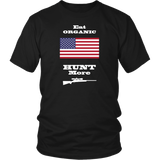 Eat Organic - Hunt More | United States National Flag T-Shirt with Bolt Action Rifle
