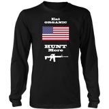Eat Organic - Hunt More | United States National Flag T-Shirt with AR15