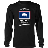 Eat Organic - Hunt More | Wyoming State Flag T-Shirt with Bolt Action Rifle