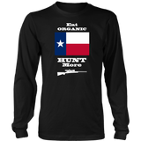 Eat Organic - Hunt More | Texas State Flag T-Shirt with Bolt Action Rifle