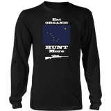 Eat Organic - Hunt More | Alaska State Flag T-Shirt with Bolt Action Rifle