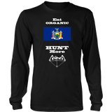 Eat Organic - Hunt More | New York State Flag T-Shirt with Bow