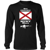 Eat Organic - Hunt More | Alabama State Flag T-Shirt with AR15