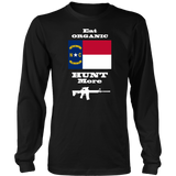 Eat Organic - Hunt More | North Carolina State Flag T-Shirt with AR15