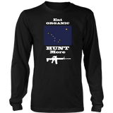 Eat Organic - Hunt More | Alaska State Flag T-Shirt with AR15