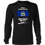 Eat Organic - Hunt More | New York State Flag T-Shirt with Bolt Action Rifle