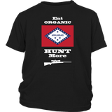 Eat Organic - Hunt More | Arkansas State Flag T-Shirt with Bolt Action Rifle
