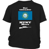 Eat Organic - Hunt More | South Dakota State Flag T-Shirt with Bolt Action Rifle
