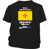 Eat Organic - Hunt More | New Mexico State Flag T-Shirt with Bolt Action Rifle