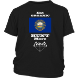 Eat Organic - Hunt More | New Hampshire State Flag T-Shirt with Bow
