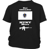 Eat Organic - Hunt More | Massachusetts State Flag T-Shirt with AR15