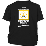 Eat Organic - Hunt More | Rhode Island State Flag T-Shirt with Bolt Action Rifle