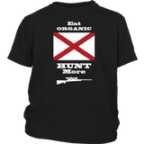 Eat Organic - Hunt More | Alabama State Flag T-Shirt with Bolt Action Rifle