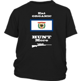 Eat Organic - Hunt More | West Virginia State Flag T-Shirt with Bolt Action Rifle