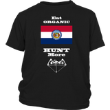 Eat Organic - Hunt More | Missouri State Flag T-Shirt with Bow