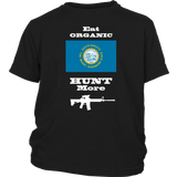 Eat Organic - Hunt More | South Dakota State Flag T-Shirt with AR15