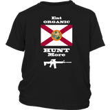 Eat Organic - Hunt More | Florida State Flag T-Shirt with AR15