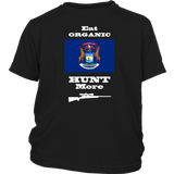 Eat Organic - Hunt More | Michigan State Flag T-Shirt with Bolt Action Rifle