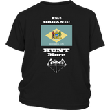 Eat Organic - Hunt More | Delaware State Flag T-Shirt with Bow