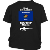 Eat Organic - Hunt More | Wisconsin State Flag T-Shirt with AR15