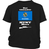 Eat Organic - Hunt More | Oklahoma State Flag T-Shirt with Bolt Action Rifle