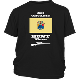 Eat Organic - Hunt More | New Jersey State Flag T-Shirt with Bolt Action Rifle