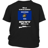 Eat Organic - Hunt More | Wisconsin State Flag T-Shirt with Bolt Action Rifle