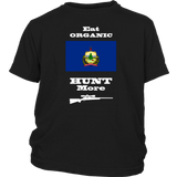 Eat Organic - Hunt More | Vermont State Flag T-Shirt with Bolt Action Rifle
