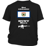 Eat Organic - Hunt More | West Virginia State Flag T-Shirt with AR15