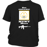 Eat Organic - Hunt More | Rhode Island State Flag T-Shirt with AR15