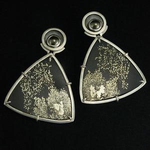 art deco pyrite slate statement earrings