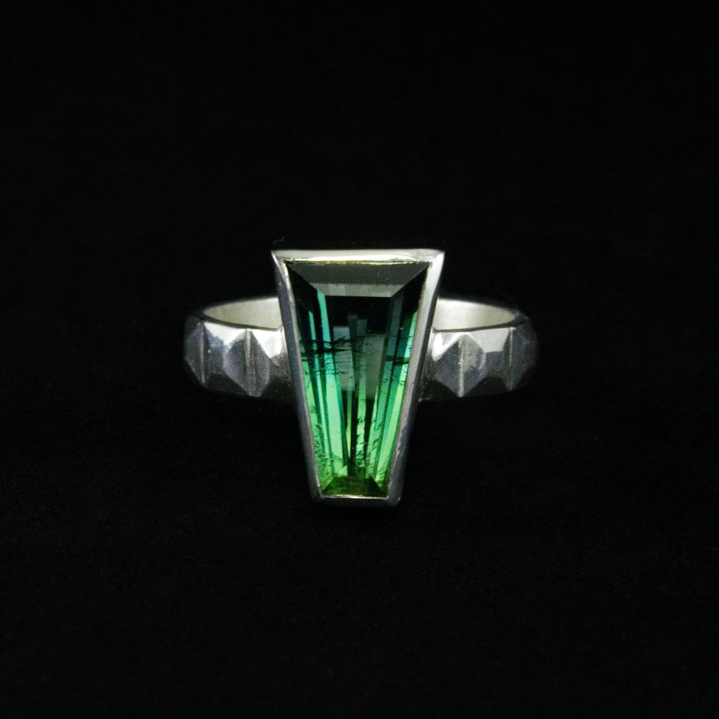 art deco sterling green tourmaline ring